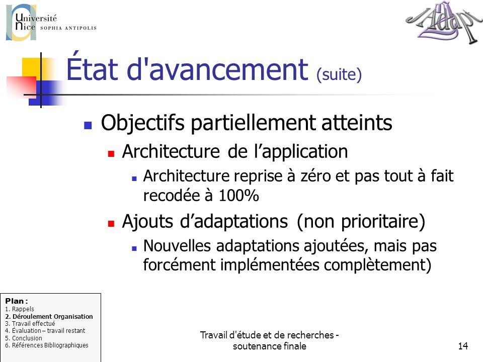Travail d'étude et de recherches - soutenance finale14 État d'avancement (suite) Objectifs partiellement atteints Architecture de lapplication Archite