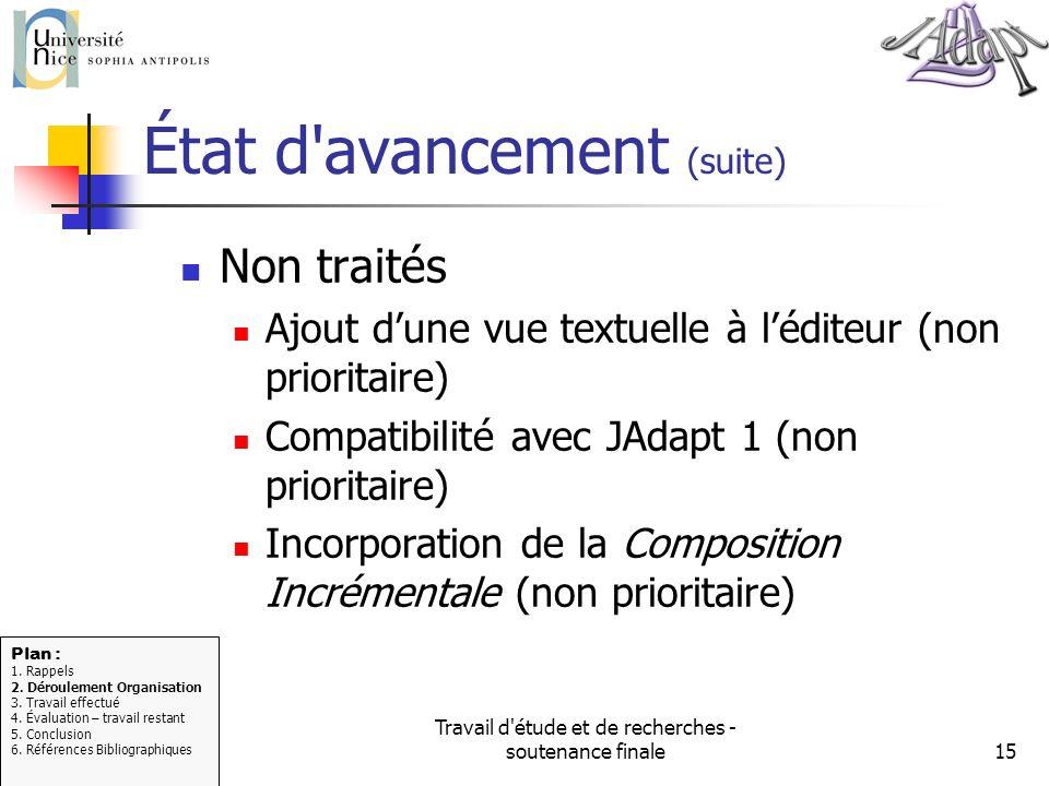 Travail d'étude et de recherches - soutenance finale15 État d'avancement (suite) Non traités Ajout dune vue textuelle à léditeur (non prioritaire) Com