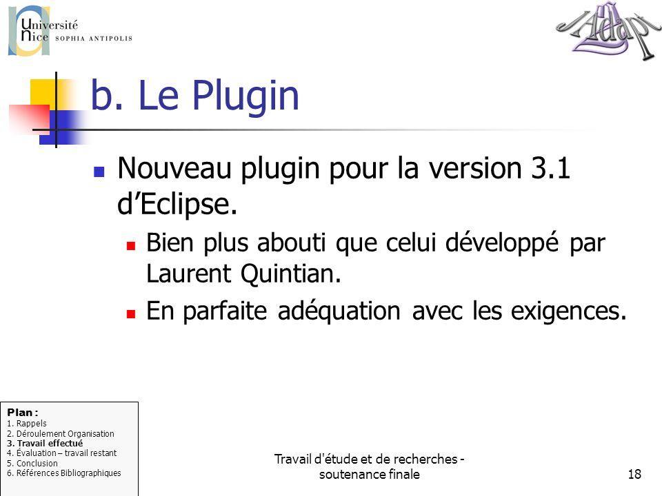 Travail d'étude et de recherches - soutenance finale18 b. Le Plugin Nouveau plugin pour la version 3.1 dEclipse. Bien plus abouti que celui développé