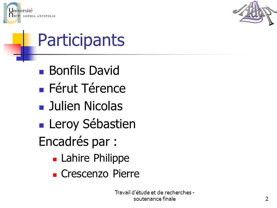 Travail d'étude et de recherches - soutenance finale2 Participants Bonfils David Férut Térence Julien Nicolas Leroy Sébastien Encadrés par : Lahire Ph