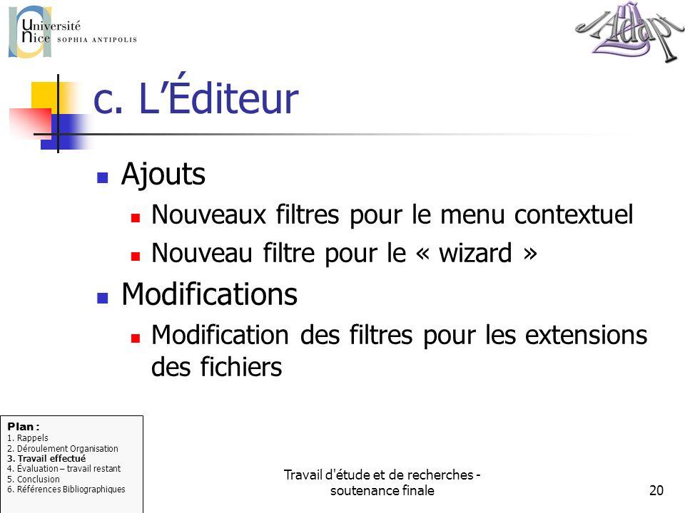 Travail d'étude et de recherches - soutenance finale20 c. LÉditeur Ajouts Nouveaux filtres pour le menu contextuel Nouveau filtre pour le « wizard » M