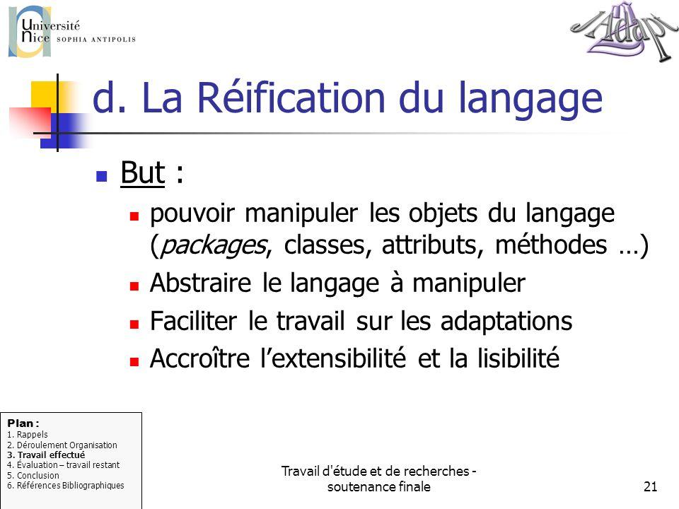 Travail d'étude et de recherches - soutenance finale21 d. La Réification du langage But : pouvoir manipuler les objets du langage (packages, classes,