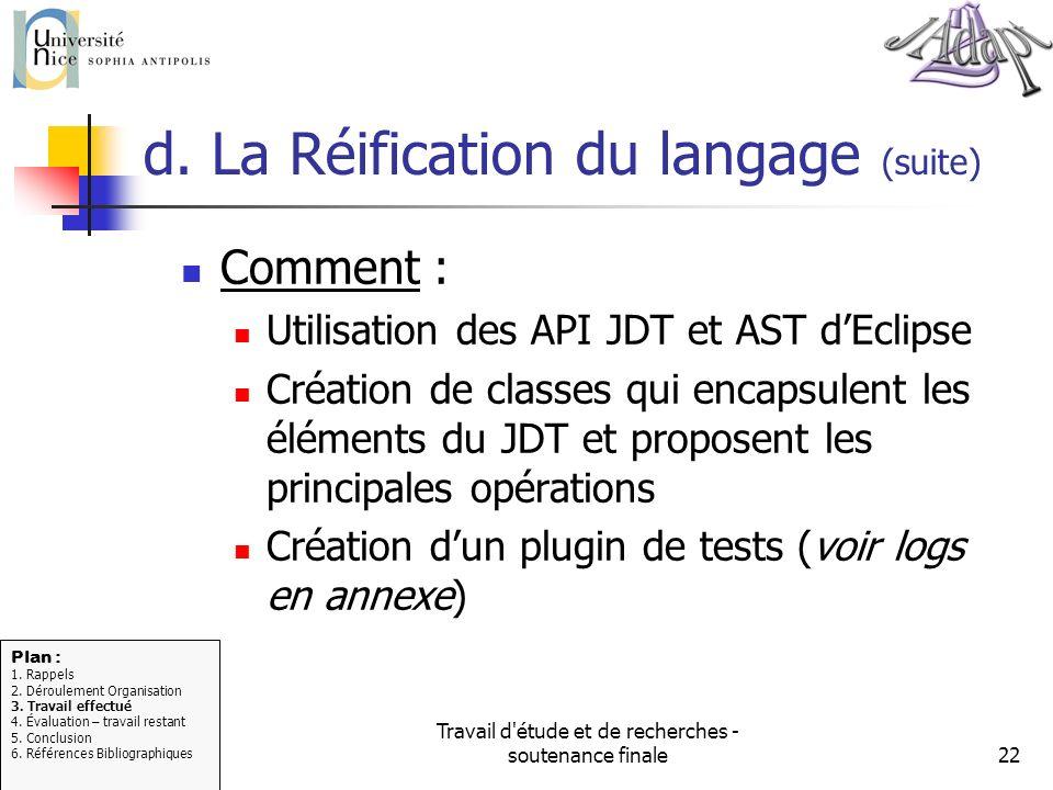 Travail d'étude et de recherches - soutenance finale22 d. La Réification du langage (suite) Comment : Utilisation des API JDT et AST dEclipse Création