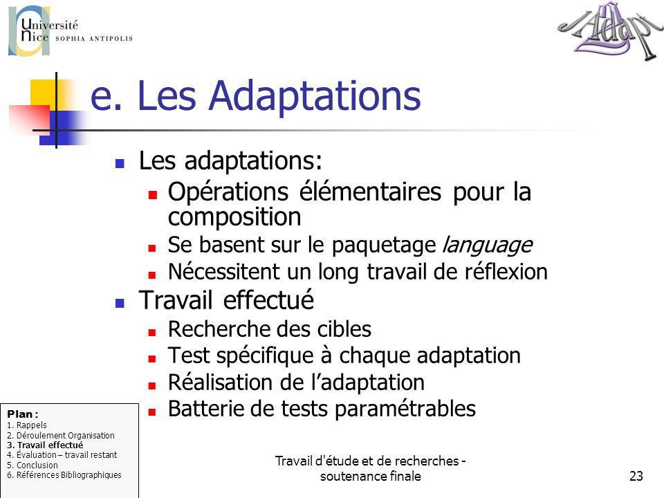 Travail d'étude et de recherches - soutenance finale23 e. Les Adaptations Les adaptations: Opérations élémentaires pour la composition Se basent sur l