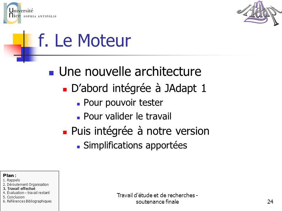 Travail d'étude et de recherches - soutenance finale24 f. Le Moteur Une nouvelle architecture Dabord intégrée à JAdapt 1 Pour pouvoir tester Pour vali