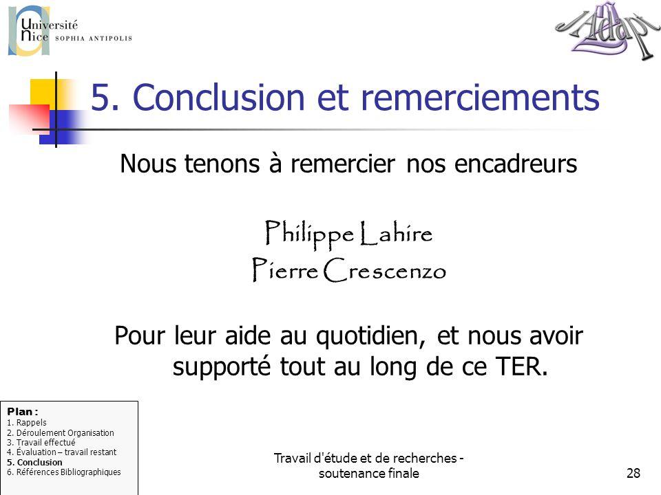 Travail d'étude et de recherches - soutenance finale28 5. Conclusion et remerciements Nous tenons à remercier nos encadreurs Philippe Lahire Pierre Cr