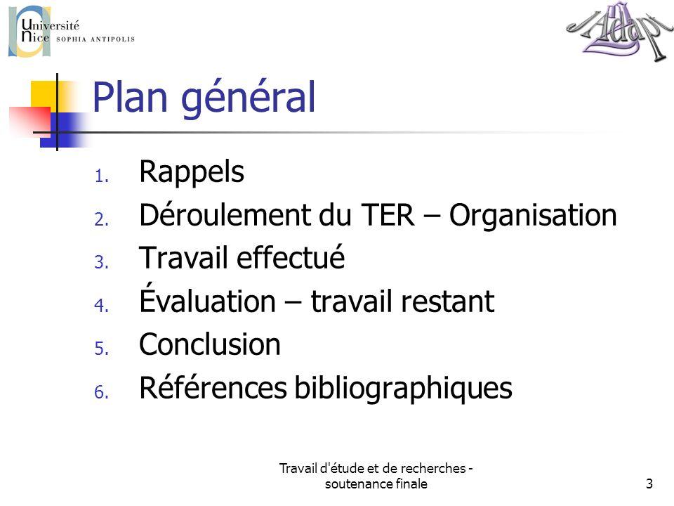 Travail d'étude et de recherches - soutenance finale3 Plan général 1. Rappels 2. Déroulement du TER – Organisation 3. Travail effectué 4. Évaluation –