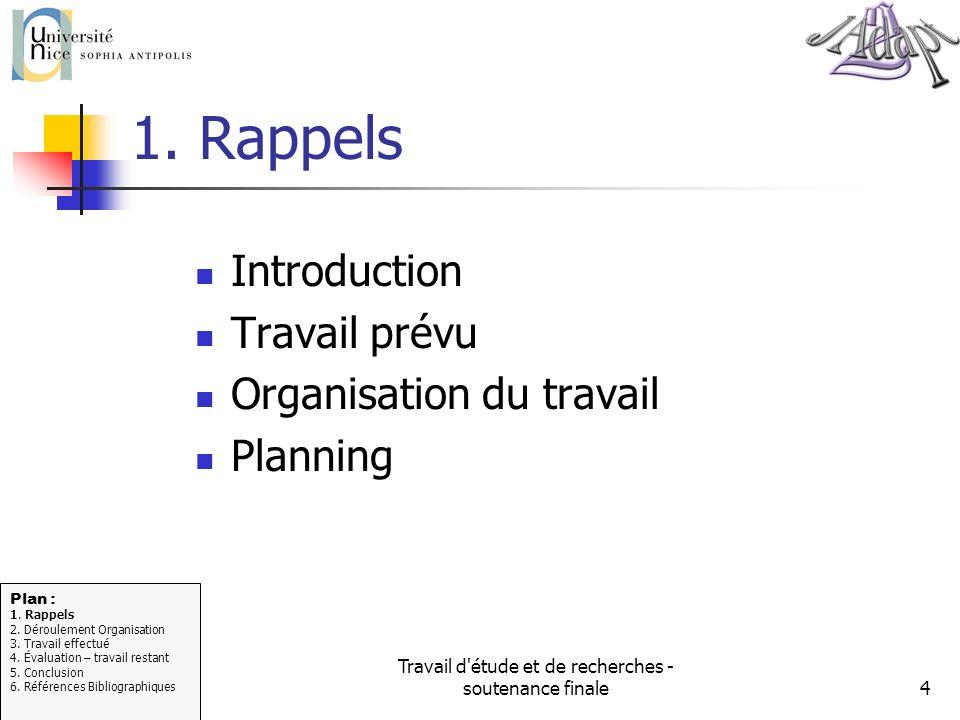 Travail d'étude et de recherches - soutenance finale4 1. Rappels Introduction Travail prévu Organisation du travail Planning Plan : 1. Rappels 2. Déro