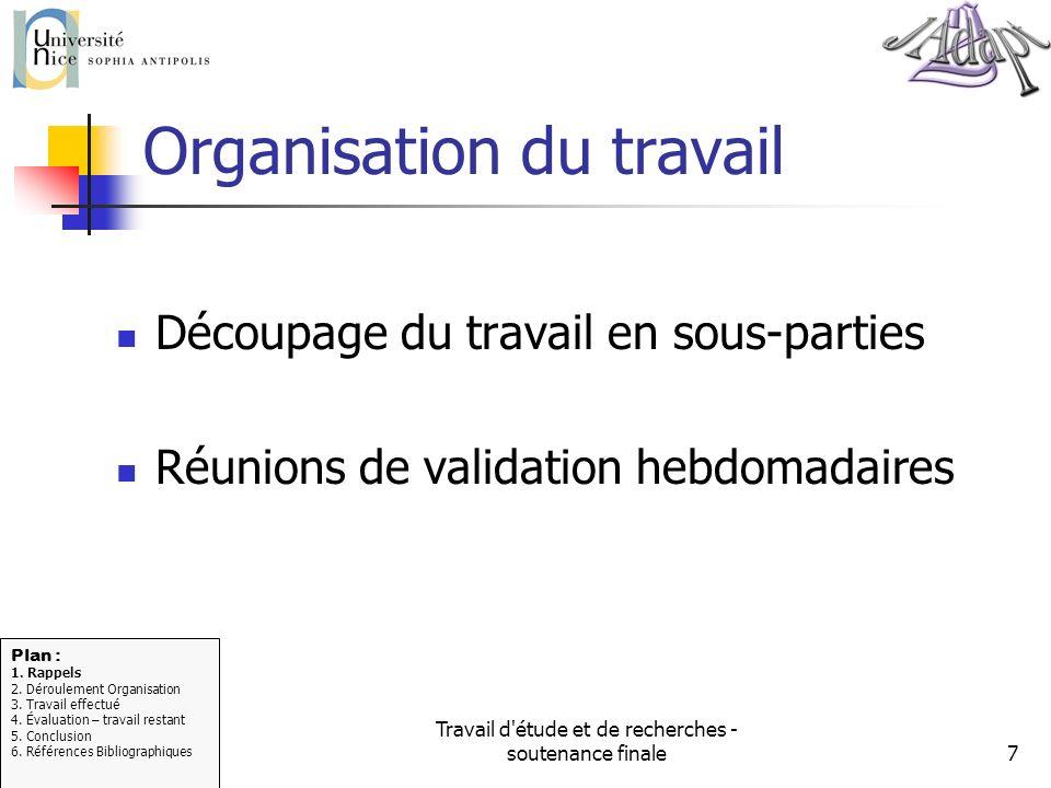 Travail d'étude et de recherches - soutenance finale7 Organisation du travail Découpage du travail en sous-parties Réunions de validation hebdomadaire