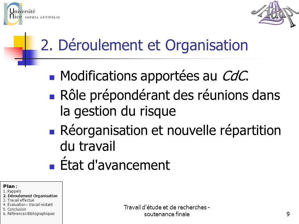 Travail d'étude et de recherches - soutenance finale9 2. Déroulement et Organisation Modifications apportées au CdC. Rôle prépondérant des réunions da