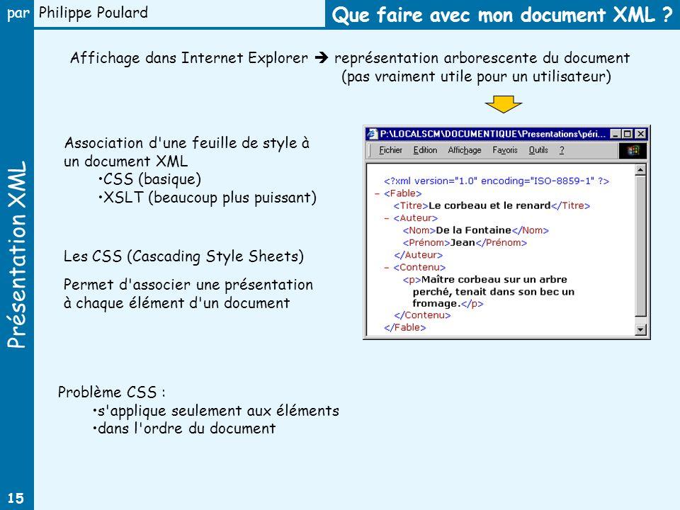 Présentation XML par Philippe Poulard 15 Que faire avec mon document XML ? Affichage dans Internet Explorer représentation arborescente du document (p
