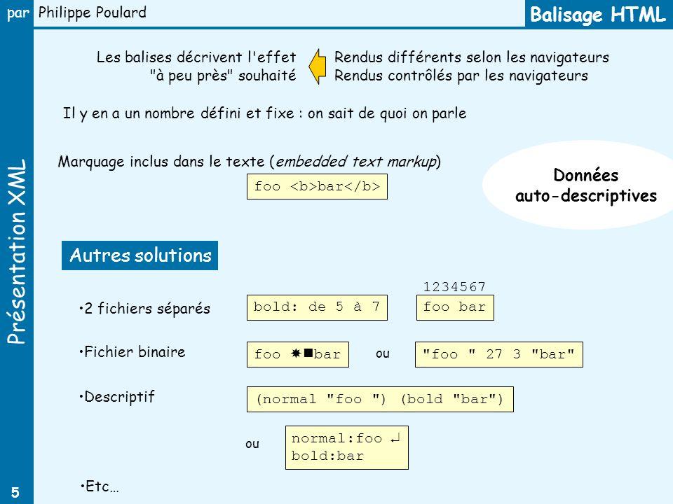 Présentation XML par Philippe Poulard 5 Balisage HTML Les balises décrivent l'effet
