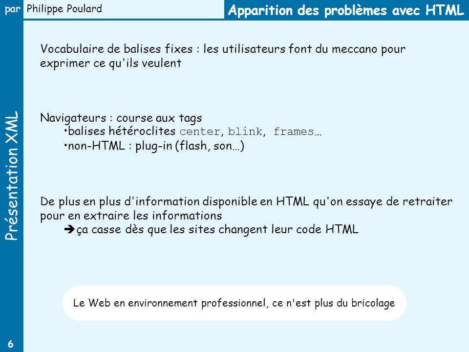 Présentation XML par Philippe Poulard 6 Apparition des problèmes avec HTML Vocabulaire de balises fixes : les utilisateurs font du meccano pour exprim