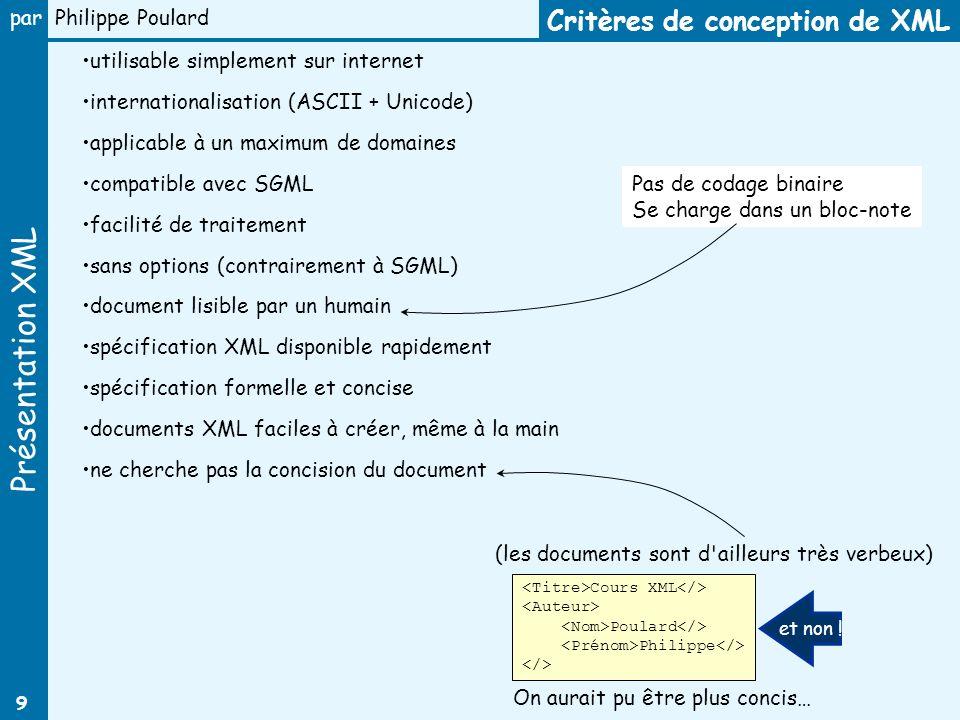 Présentation XML par Philippe Poulard 9 utilisable simplement sur internet internationalisation (ASCII + Unicode) applicable à un maximum de domaines