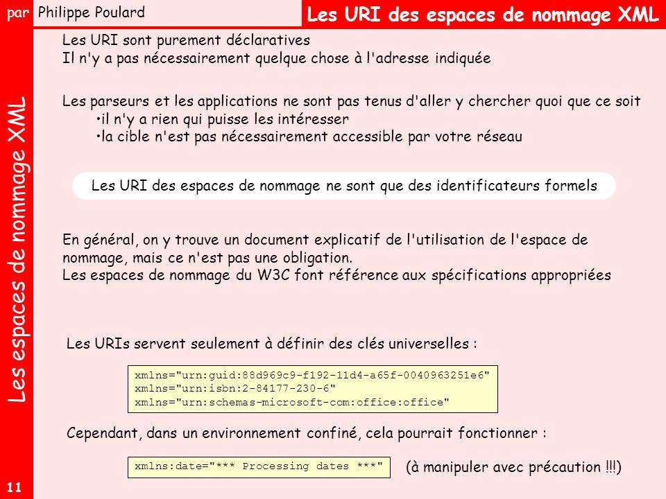 Les espaces de nommage XML par Philippe Poulard 11 Les URI des espaces de nommage XML Les URI sont purement déclaratives Il n y a pas nécessairement quelque chose à l adresse indiquée En général, on y trouve un document explicatif de l utilisation de l espace de nommage, mais ce n est pas une obligation.