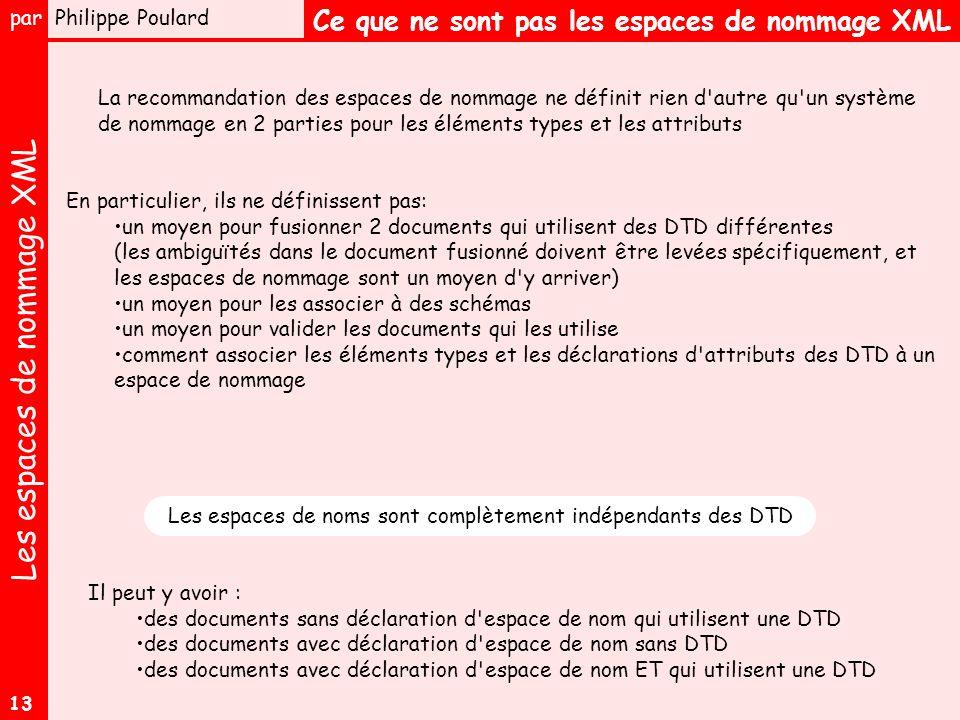 Les espaces de nommage XML par Philippe Poulard 13 Ce que ne sont pas les espaces de nommage XML La recommandation des espaces de nommage ne définit rien d autre qu un système de nommage en 2 parties pour les éléments types et les attributs En particulier, ils ne définissent pas: un moyen pour fusionner 2 documents qui utilisent des DTD différentes (les ambiguïtés dans le document fusionné doivent être levées spécifiquement, et les espaces de nommage sont un moyen d y arriver) un moyen pour les associer à des schémas un moyen pour valider les documents qui les utilise comment associer les éléments types et les déclarations d attributs des DTD à un espace de nommage Il peut y avoir : des documents sans déclaration d espace de nom qui utilisent une DTD des documents avec déclaration d espace de nom sans DTD des documents avec déclaration d espace de nom ET qui utilisent une DTD Les espaces de noms sont complètement indépendants des DTD