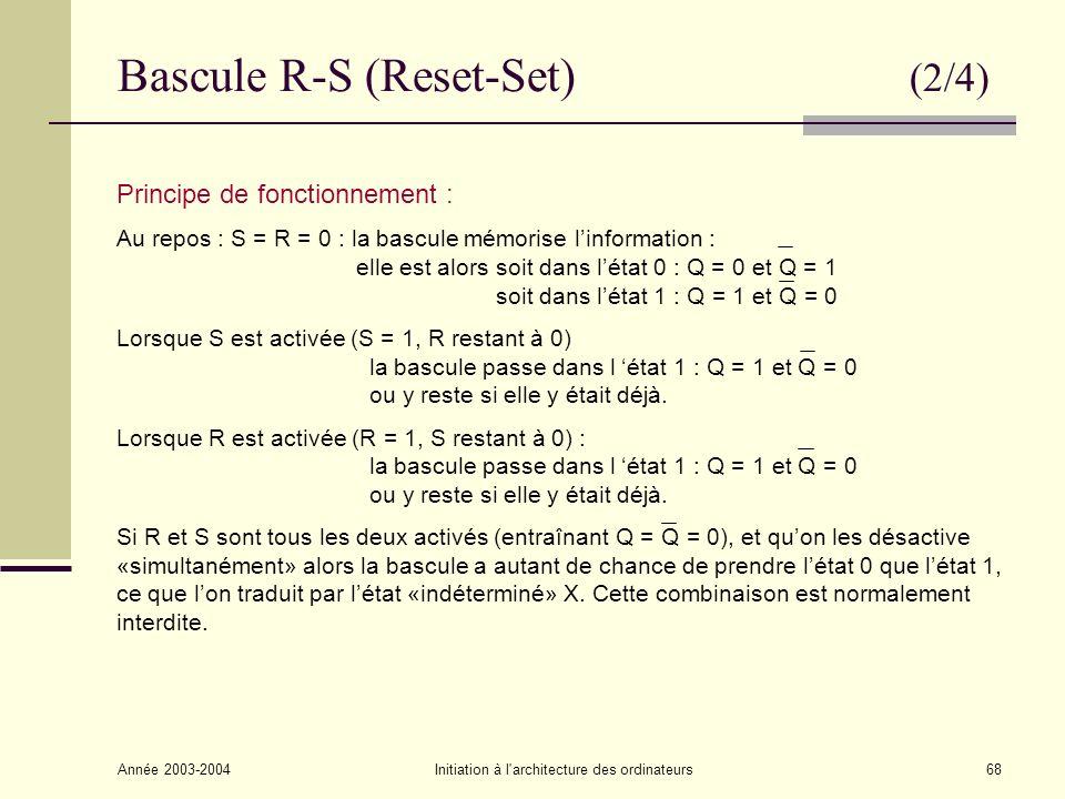 Année 2003-2004Initiation à l architecture des ordinateurs69 La bascule R-S peut aussi être implémentée en utilisant des portes NAND de la façon suivante : Bascule R-S (Reset-Set) (3/4) Ce schéma permet de comprendre plus facilement celui de la page suivante correspondant à la bascule R-S Synchrone où S et R sont contrôlés par lhorloge.