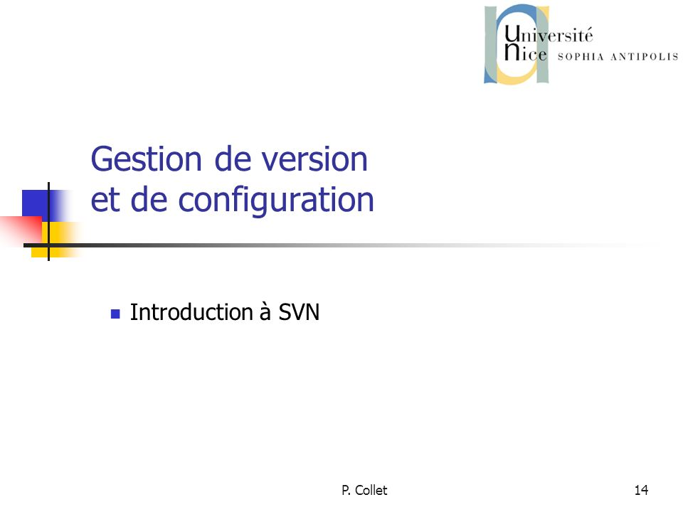 P. Collet14 Gestion de version et de configuration Introduction à SVN