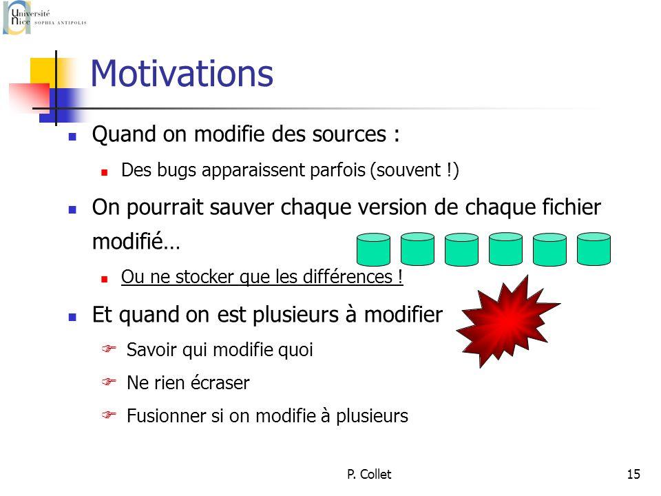 P. Collet15 Motivations Quand on modifie des sources : Des bugs apparaissent parfois (souvent !) On pourrait sauver chaque version de chaque fichier m