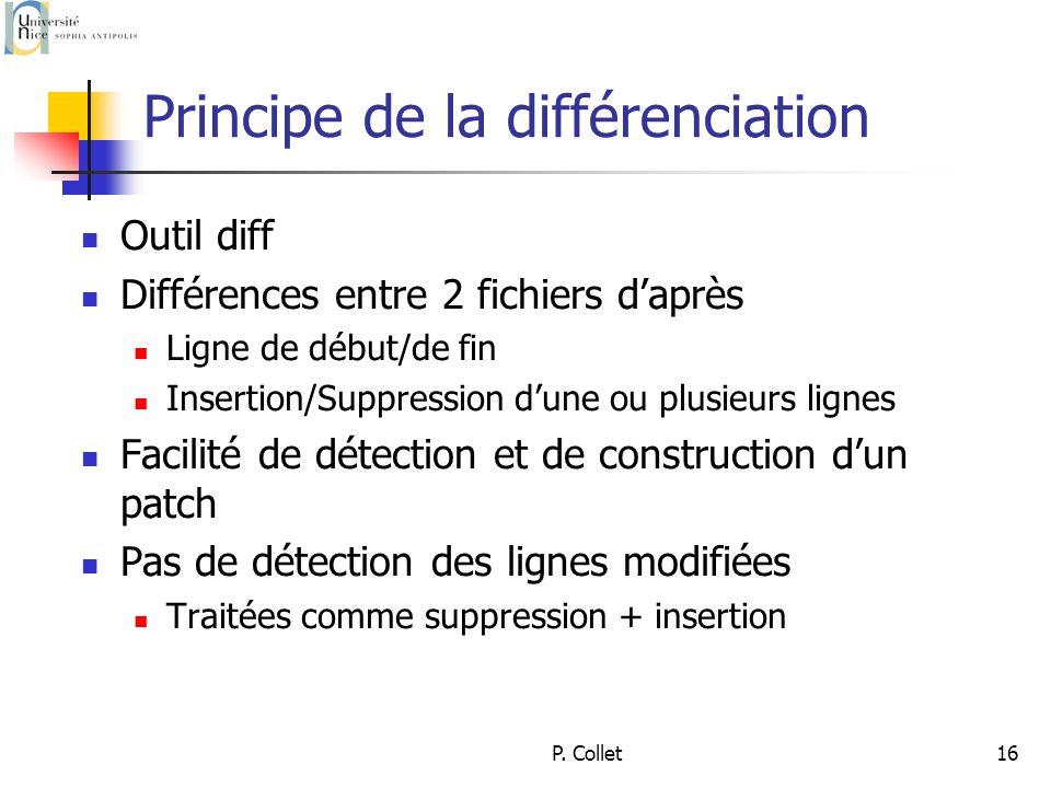 P. Collet16 Principe de la différenciation Outil diff Différences entre 2 fichiers daprès Ligne de début/de fin Insertion/Suppression dune ou plusieur