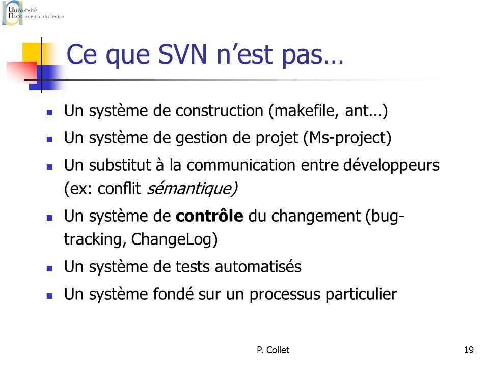 P. Collet19 Ce que SVN nest pas… Un système de construction (makefile, ant…) Un système de gestion de projet (Ms-project) Un substitut à la communicat