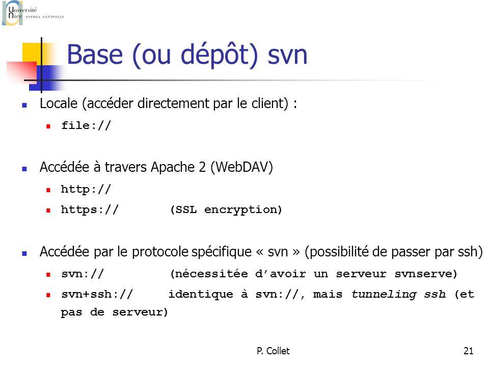P. Collet21 Base (ou dépôt) svn Locale (accéder directement par le client) : file:// Accédée à travers Apache 2 (WebDAV) http:// https://(SSL encrypti