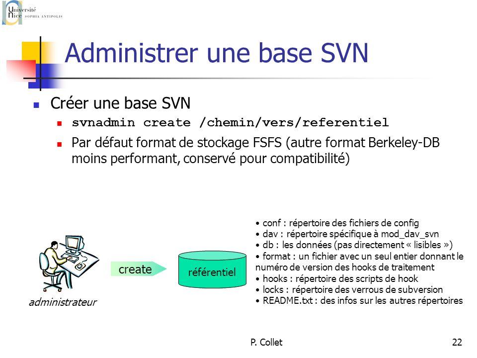 P. Collet22 Administrer une base SVN Créer une base SVN svnadmin create /chemin/vers/referentiel Par défaut format de stockage FSFS (autre format Berk