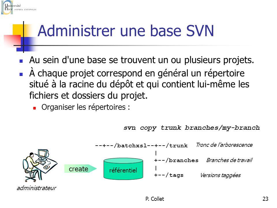 P. Collet23 Administrer une base SVN Au sein d une base se trouvent un ou plusieurs projets.