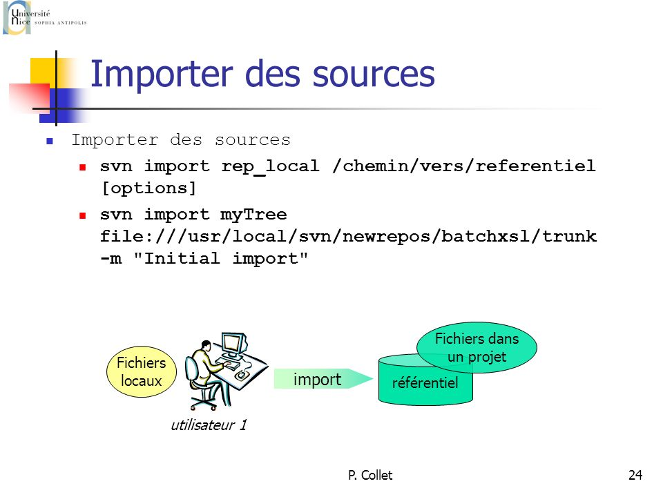 P. Collet24 Importer des sources svn import rep_local /chemin/vers/referentiel [options] svn import myTree file:///usr/local/svn/newrepos/batchxsl/tru
