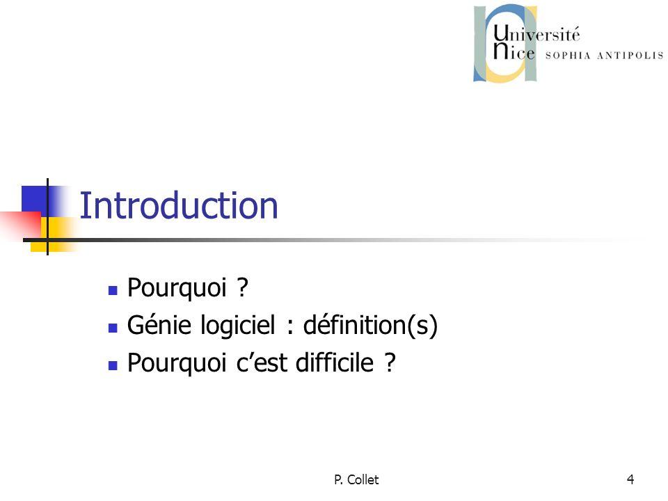 P. Collet4 Introduction Pourquoi Génie logiciel : définition(s) Pourquoi cest difficile