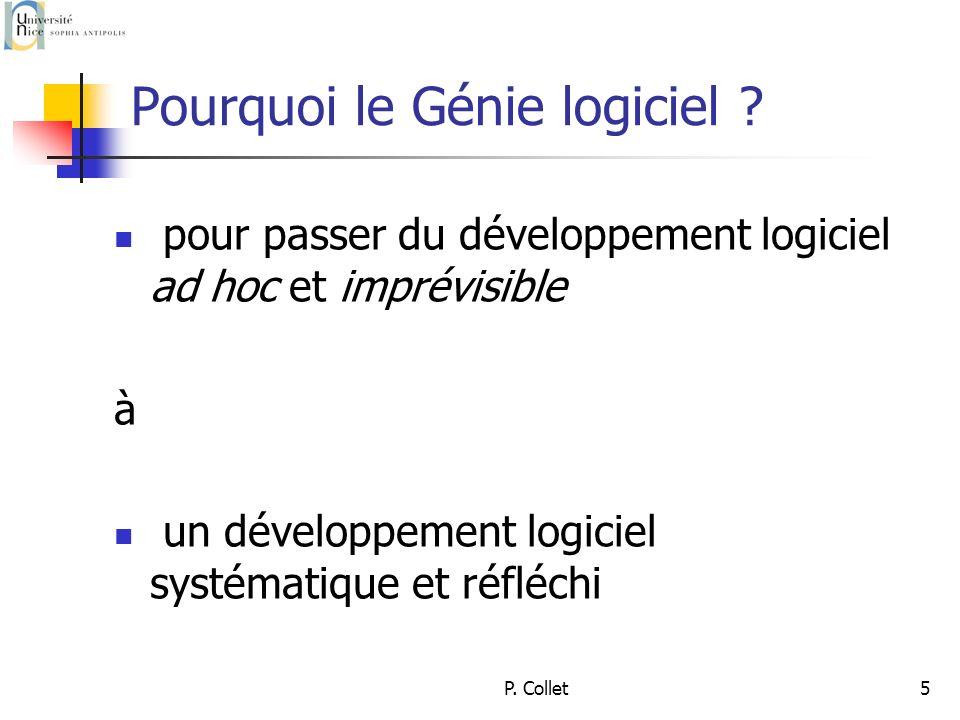 P. Collet5 Pourquoi le Génie logiciel .