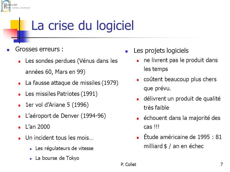 P. Collet7 La crise du logiciel Grosses erreurs : Les sondes perdues (Vénus dans les années 60, Mars en 99) La fausse attaque de missiles (1979) Les m