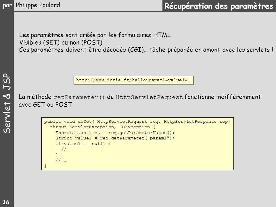 Servlet & JSP par Philippe Poulard 16 public void doGet( HttpServletRequest req, HttpServletResponse rep) throws ServletException, IOException { Enume