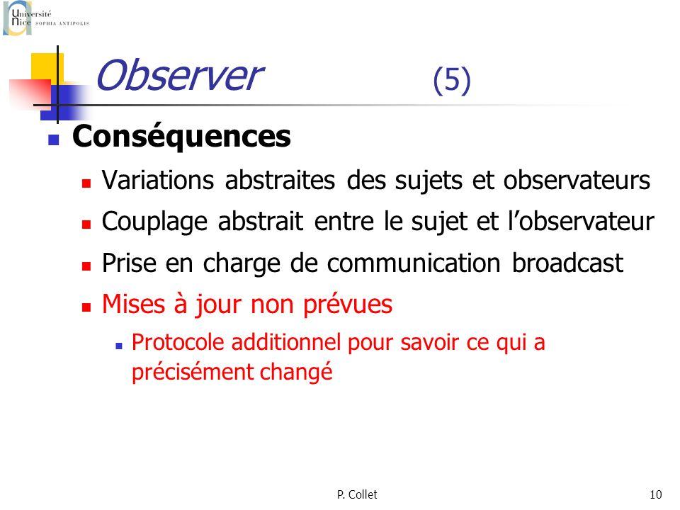 P. Collet10 Observer (5) Conséquences Variations abstraites des sujets et observateurs Couplage abstrait entre le sujet et lobservateur Prise en charg