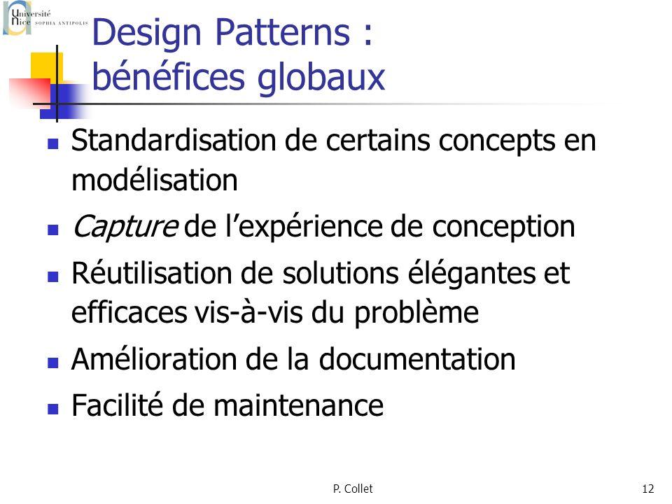 P. Collet12 Design Patterns : bénéfices globaux Standardisation de certains concepts en modélisation Capture de lexpérience de conception Réutilisatio