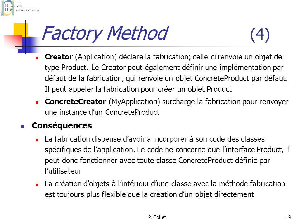 P. Collet19 Factory Method (4) Creator (Application) déclare la fabrication; celle-ci renvoie un objet de type Product. Le Creator peut également défi