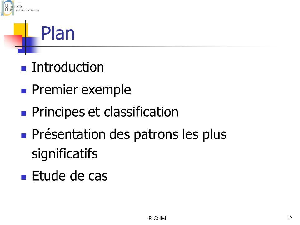 P. Collet2 Plan Introduction Premier exemple Principes et classification Présentation des patrons les plus significatifs Etude de cas