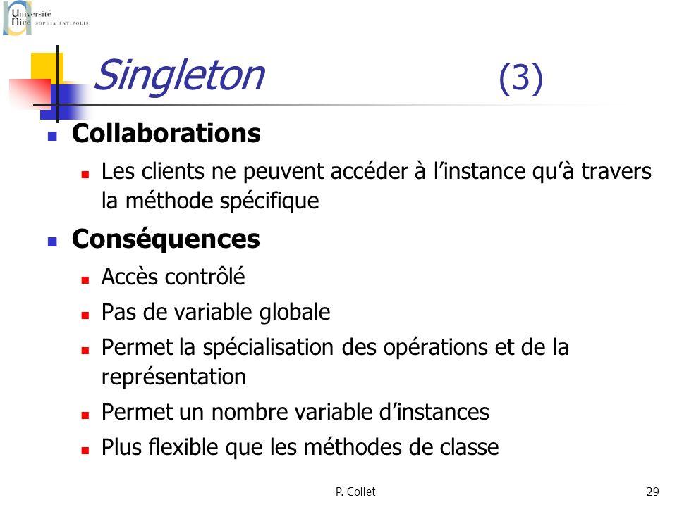 P. Collet29 Singleton (3) Collaborations Les clients ne peuvent accéder à linstance quà travers la méthode spécifique Conséquences Accès contrôlé Pas