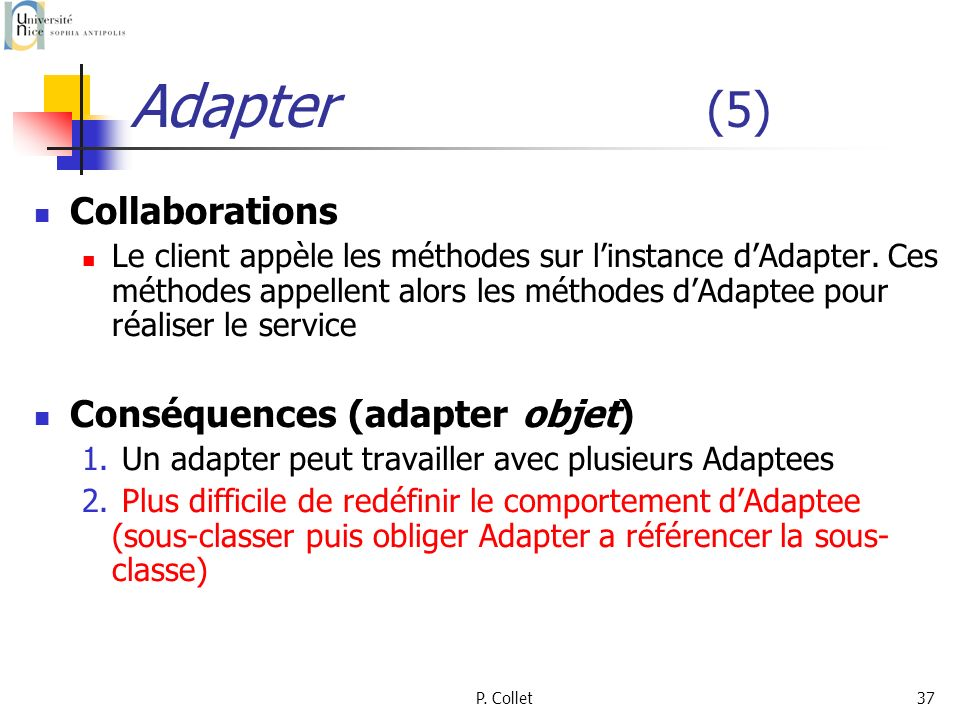 P. Collet37 Adapter (5) Collaborations Le client appèle les méthodes sur linstance dAdapter. Ces méthodes appellent alors les méthodes dAdaptee pour r