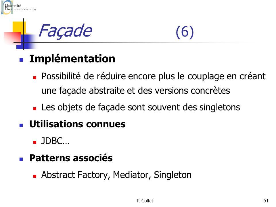 P. Collet51 Façade (6) Implémentation Possibilité de réduire encore plus le couplage en créant une façade abstraite et des versions concrètes Les obje