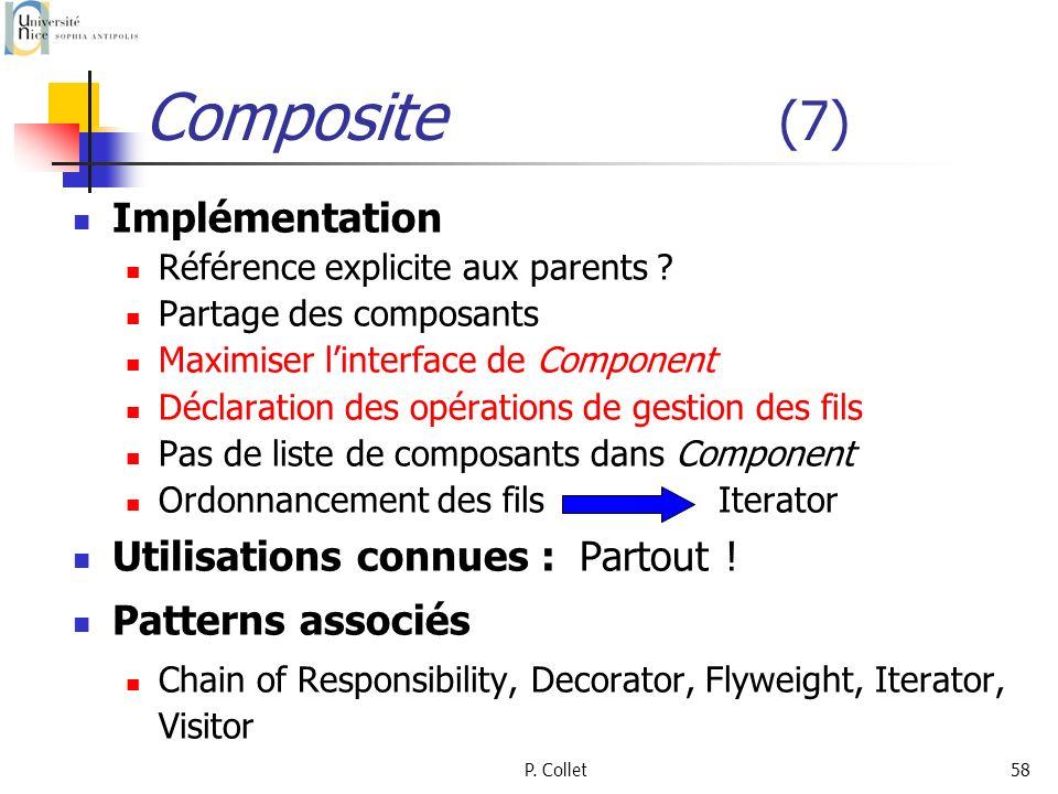 P. Collet58 Composite (7) Implémentation Référence explicite aux parents ? Partage des composants Maximiser linterface de Component Déclaration des op