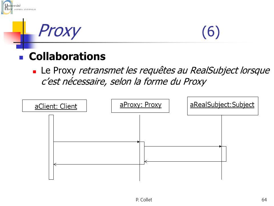 P. Collet64 Proxy (6) Collaborations Le Proxy retransmet les requêtes au RealSubject lorsque cest nécessaire, selon la forme du Proxy aClient: Client