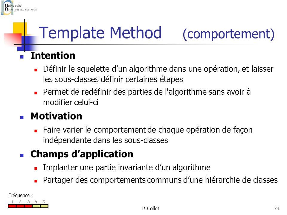 P. Collet74 Template Method (comportement) Intention Définir le squelette dun algorithme dans une opération, et laisser les sous-classes définir certa