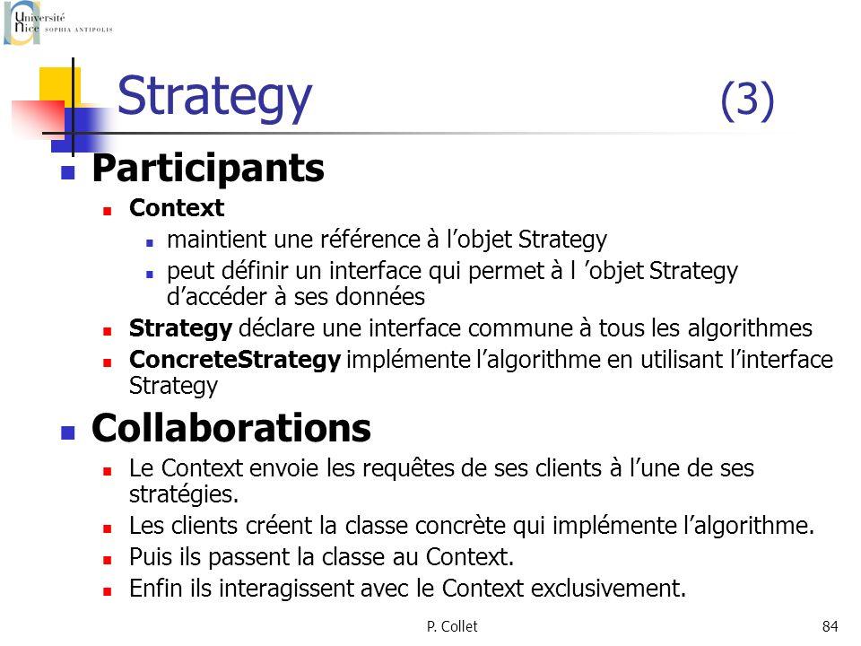 P. Collet84 Strategy (3) Participants Context maintient une référence à lobjet Strategy peut définir un interface qui permet à l objet Strategy daccéd