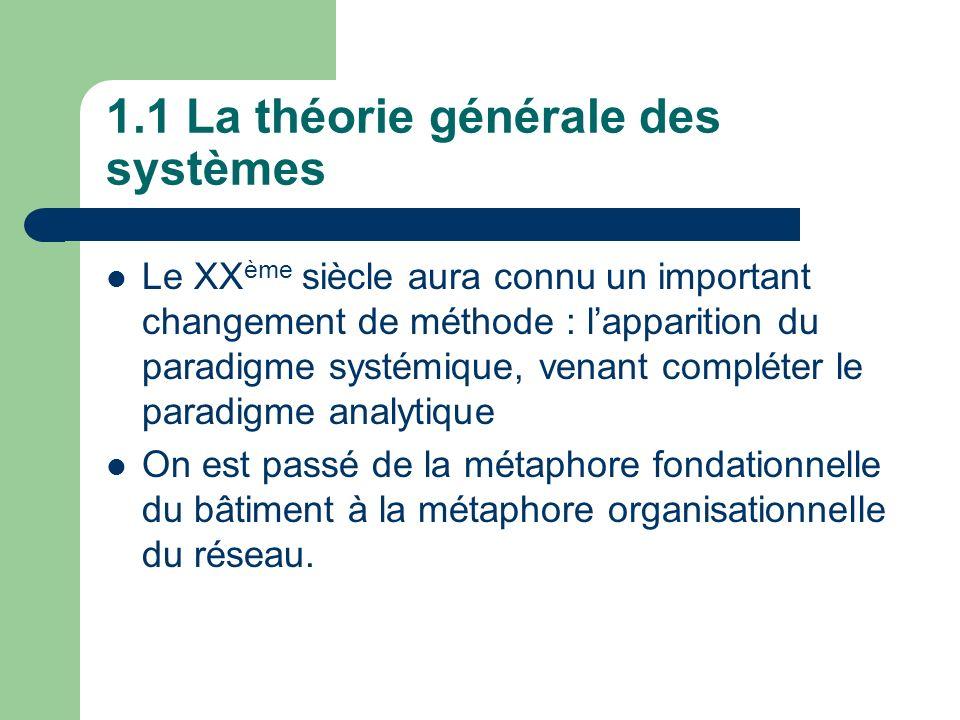 1.1 La théorie générale des systèmes Le XX ème siècle aura connu un important changement de méthode : lapparition du paradigme systémique, venant comp