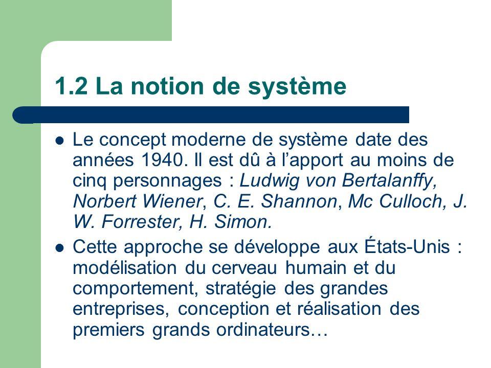 1.2 La notion de système Le concept moderne de système date des années 1940. Il est dû à lapport au moins de cinq personnages : Ludwig von Bertalanffy