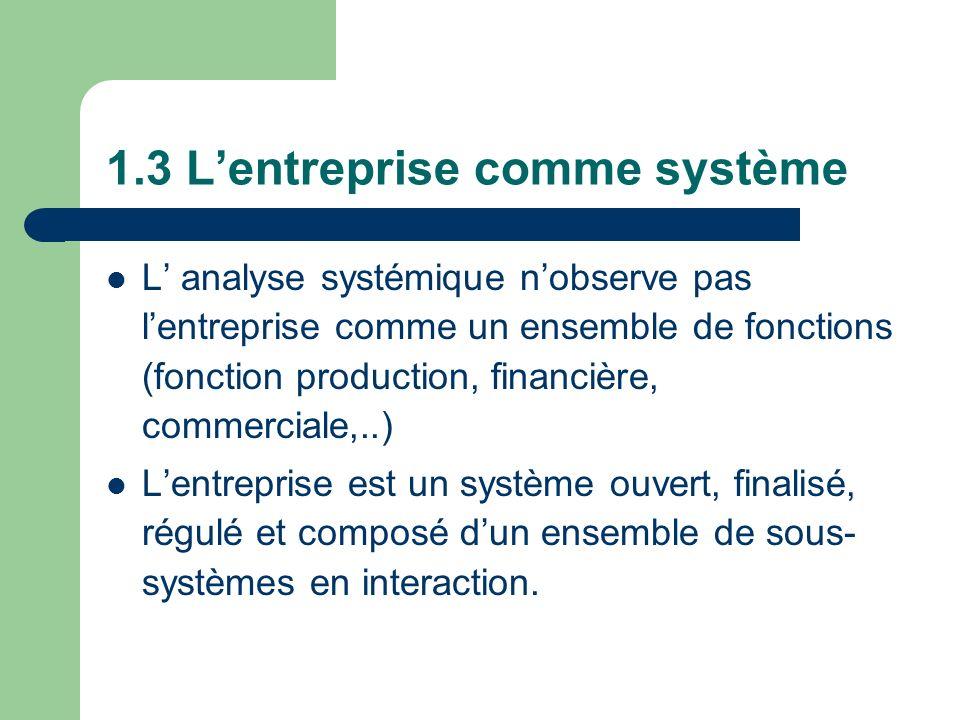 1.3 Lentreprise comme système L analyse systémique nobserve pas lentreprise comme un ensemble de fonctions (fonction production, financière, commercia