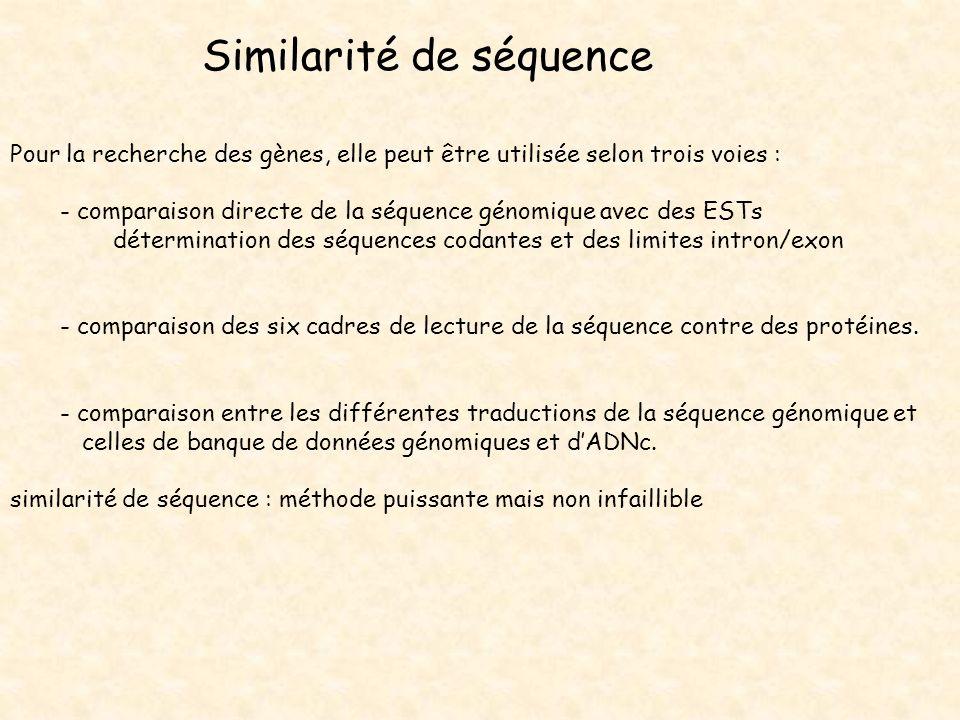 Similarité de séquence Pour la recherche des gènes, elle peut être utilisée selon trois voies : - comparaison directe de la séquence génomique avec de