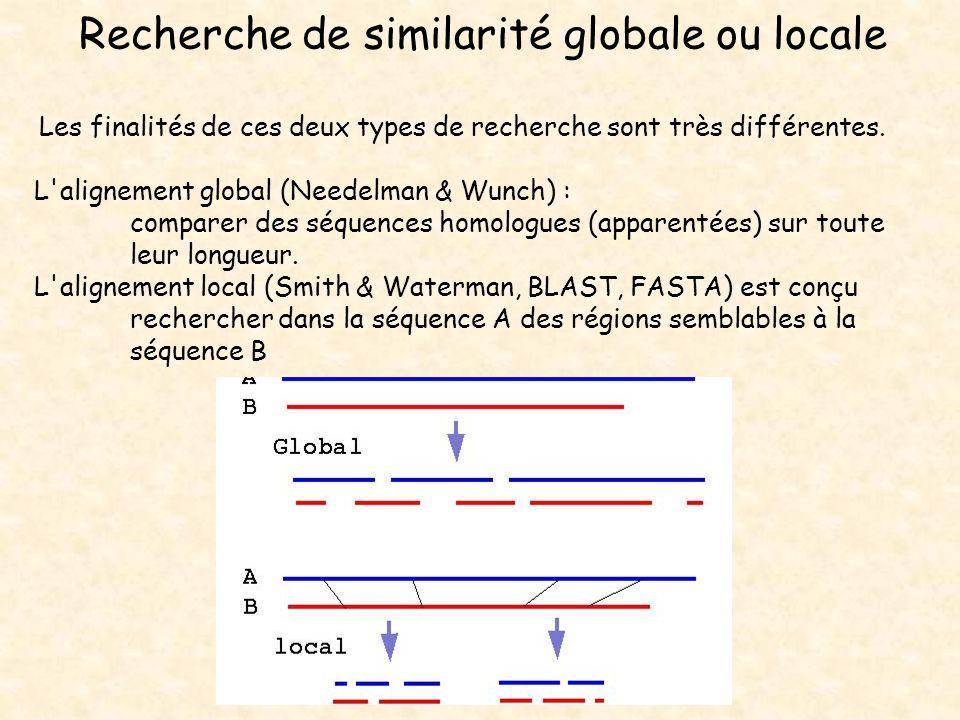Recherche de similarité globale ou locale Les finalités de ces deux types de recherche sont très différentes. L'alignement global (Needelman & Wunch)