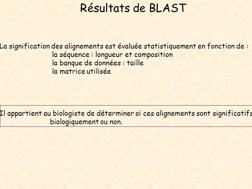 Résultats de BLAST La signification des alignements est évaluée statistiquement en fonction de : la séquence : longueur et composition la banque de do